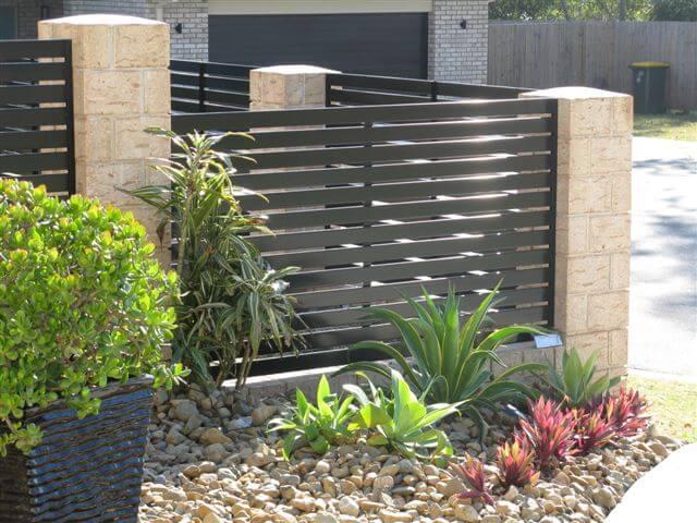 Perfect Black Horizontal Slat Fence Panels - Brisbane Gates KB59