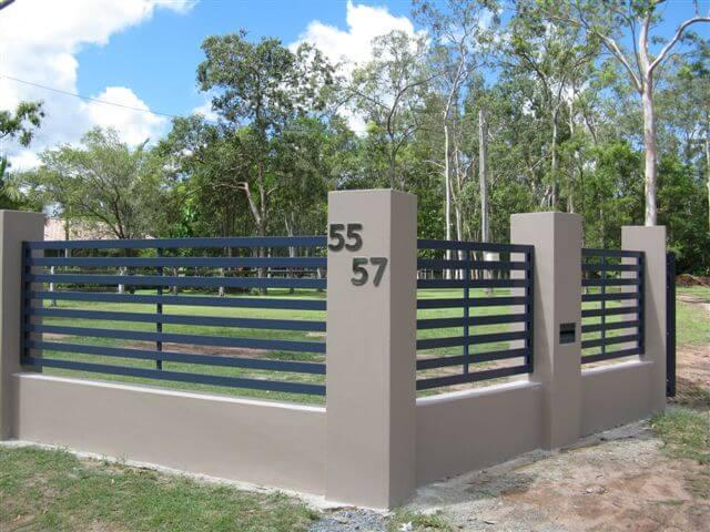 Fabulous Horizontal Slat Fence Panels with wide gap - Brisbane Gates KA07