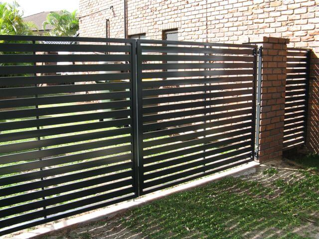Side Access Gate Double Swing Horizontal Slat